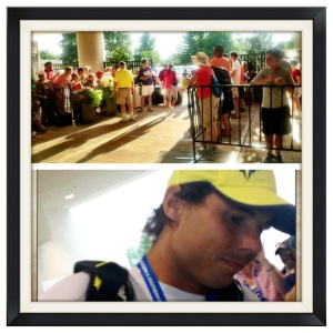 Rafael Nadal walking through the path to the players lounge, signing autographs along the way.  Bottom Photo Credit: Pritam Jaipuriar