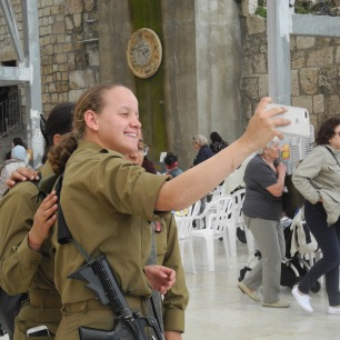 Taking selfies at the Western Wall