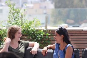 Odeya and I having a friendly conversation on the rooftop of Walla News. (Photo credit: JR Pierce).